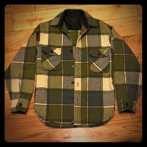 1950's-1960's green plaid wool flannel